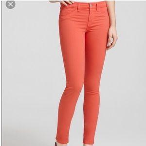 J Brand Tangerine Mid-Rise Twill Skinny Leg Jeans